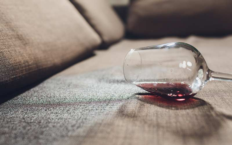 red wine stain on sofa