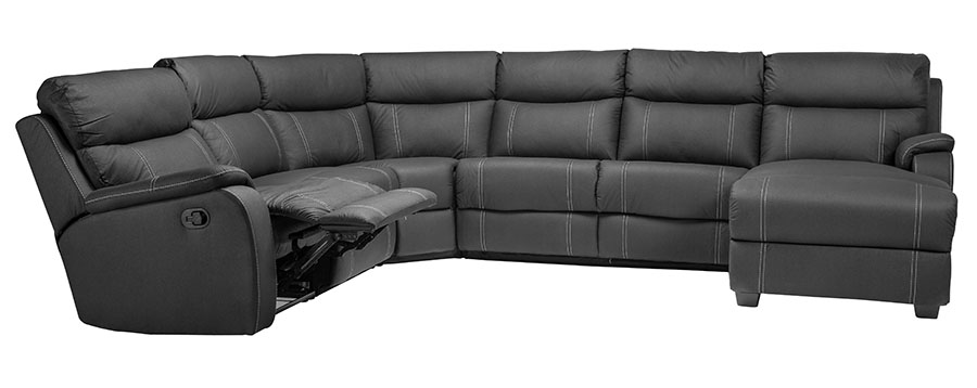 image of a black leather recliner, an item we can fix.